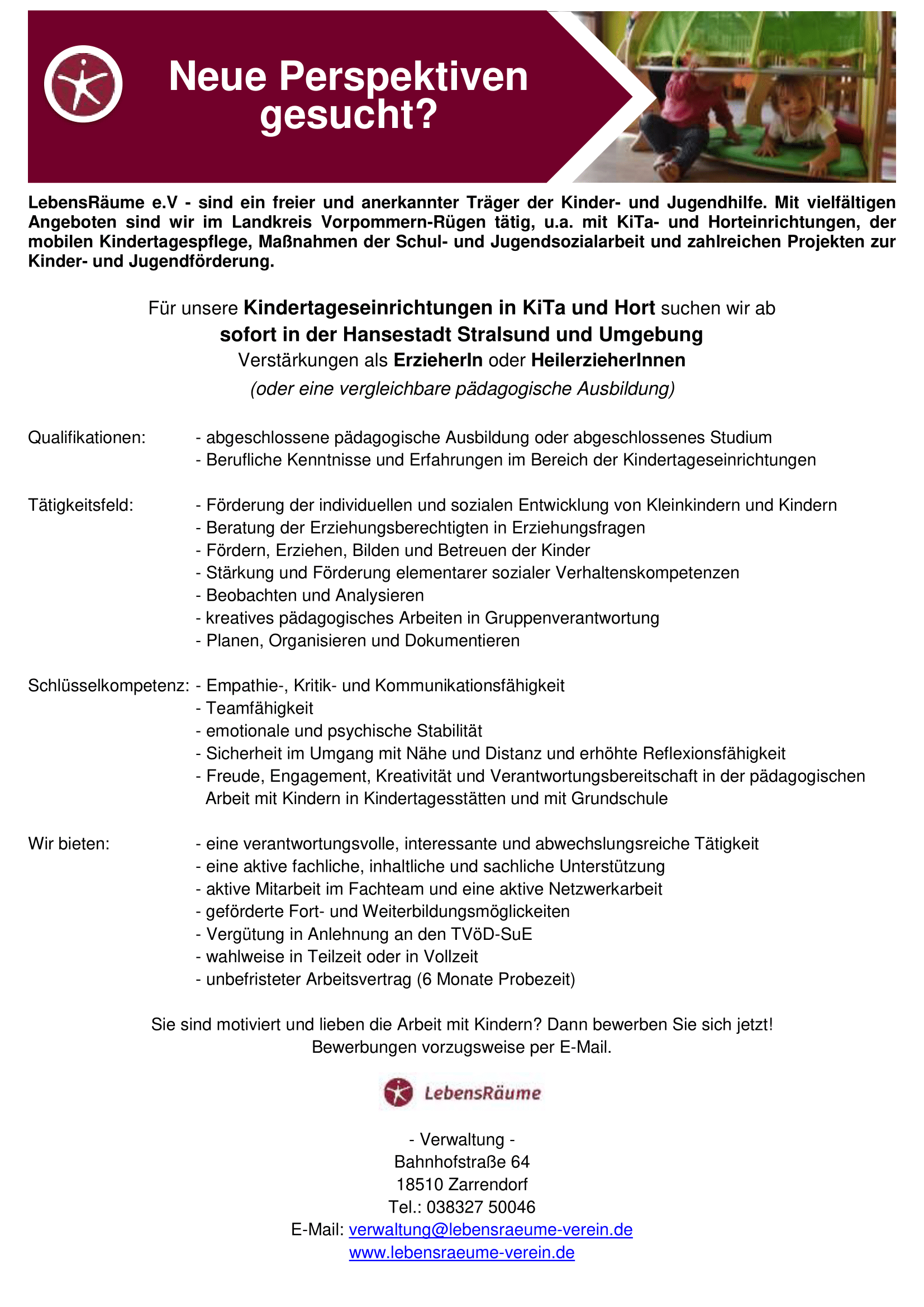Stellenausschreibung Kita & Hort
